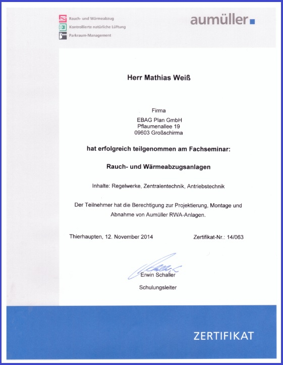 Zertifikat Aumüller Ferralux