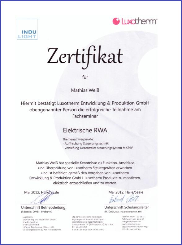 Zertifikat Luxotherm